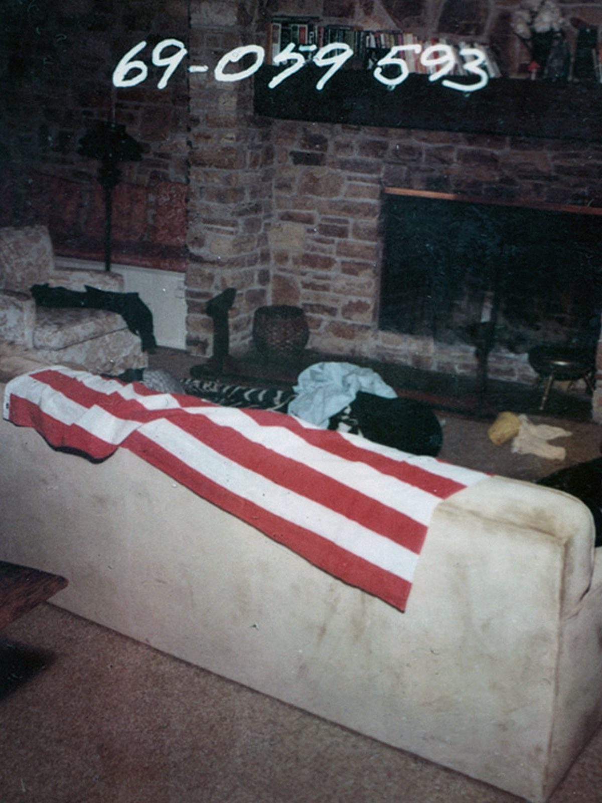 The living room where the heavily pregant Sharon Tate was slaughtered.