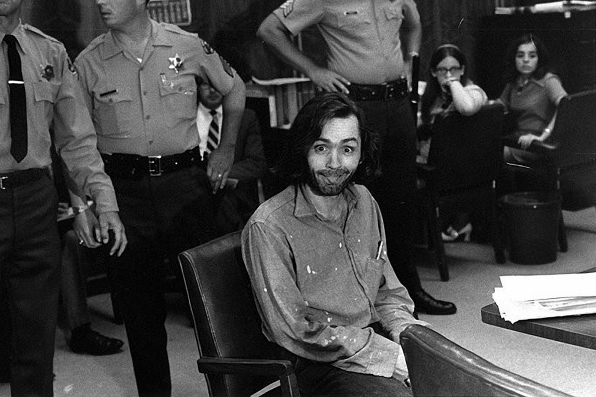 Manson would often play up for the cameras at the trial
