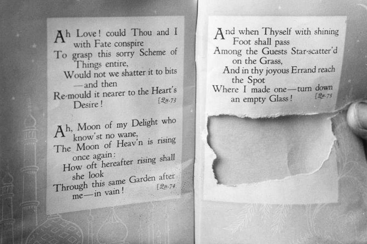 The unique copy of the Rubaiyat from which the phrase Tamam Shud was torn out