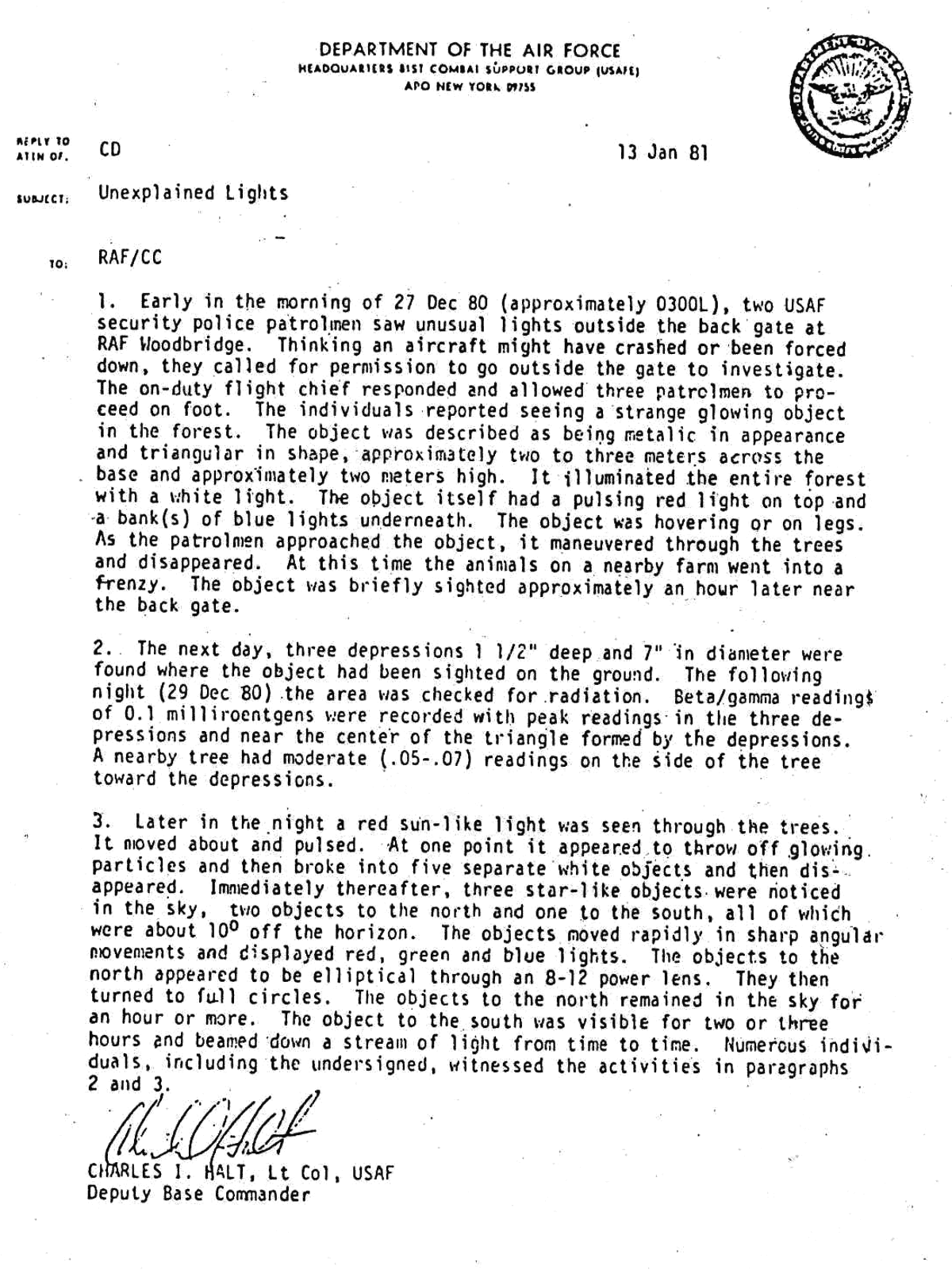The famous Halt memo details UFO activity at the twin bases