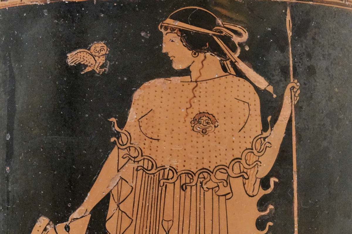 Athena was usualy depicted holding a spear
