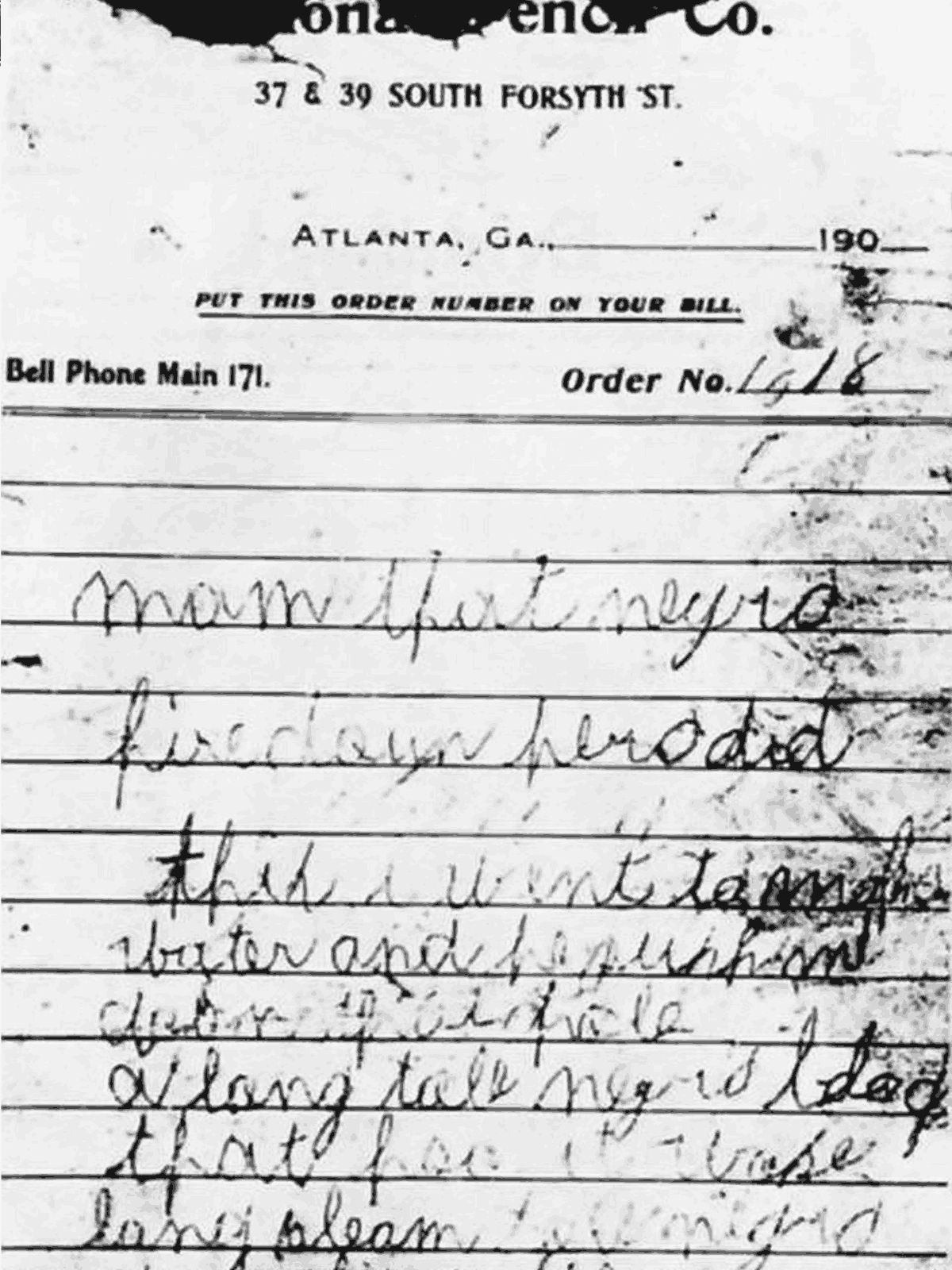 One of the so-called murder notes found near Mary Phagan