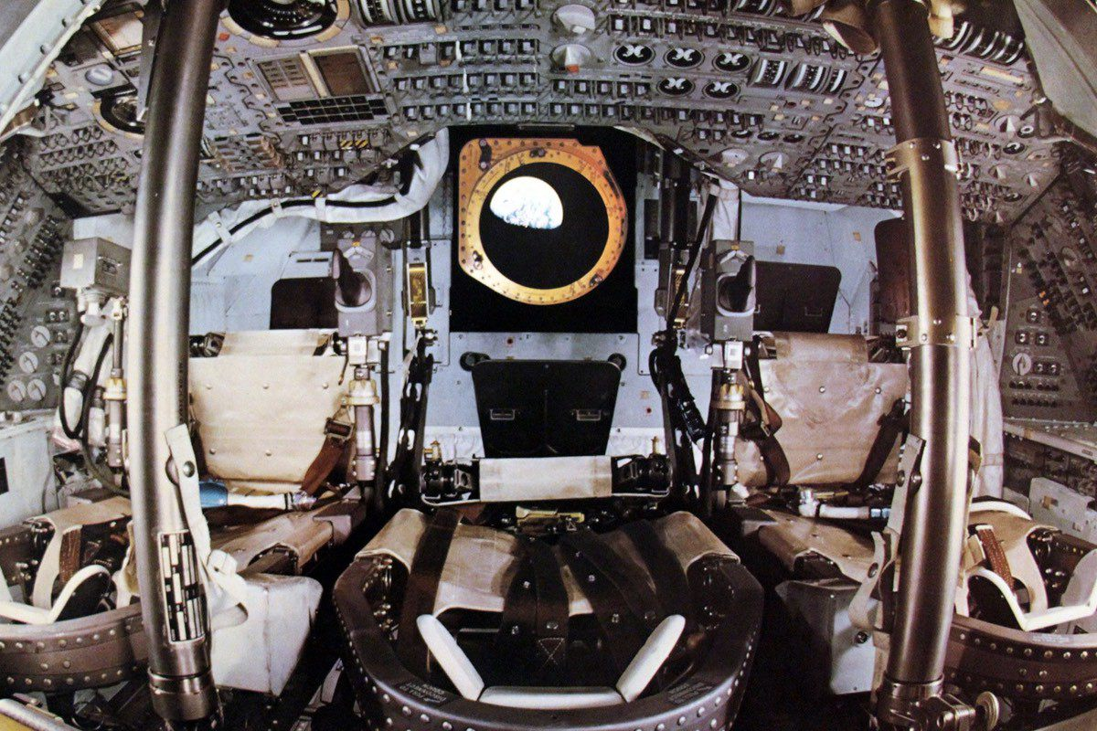 The interior of the lunar module is convincingly reproduced in the videos