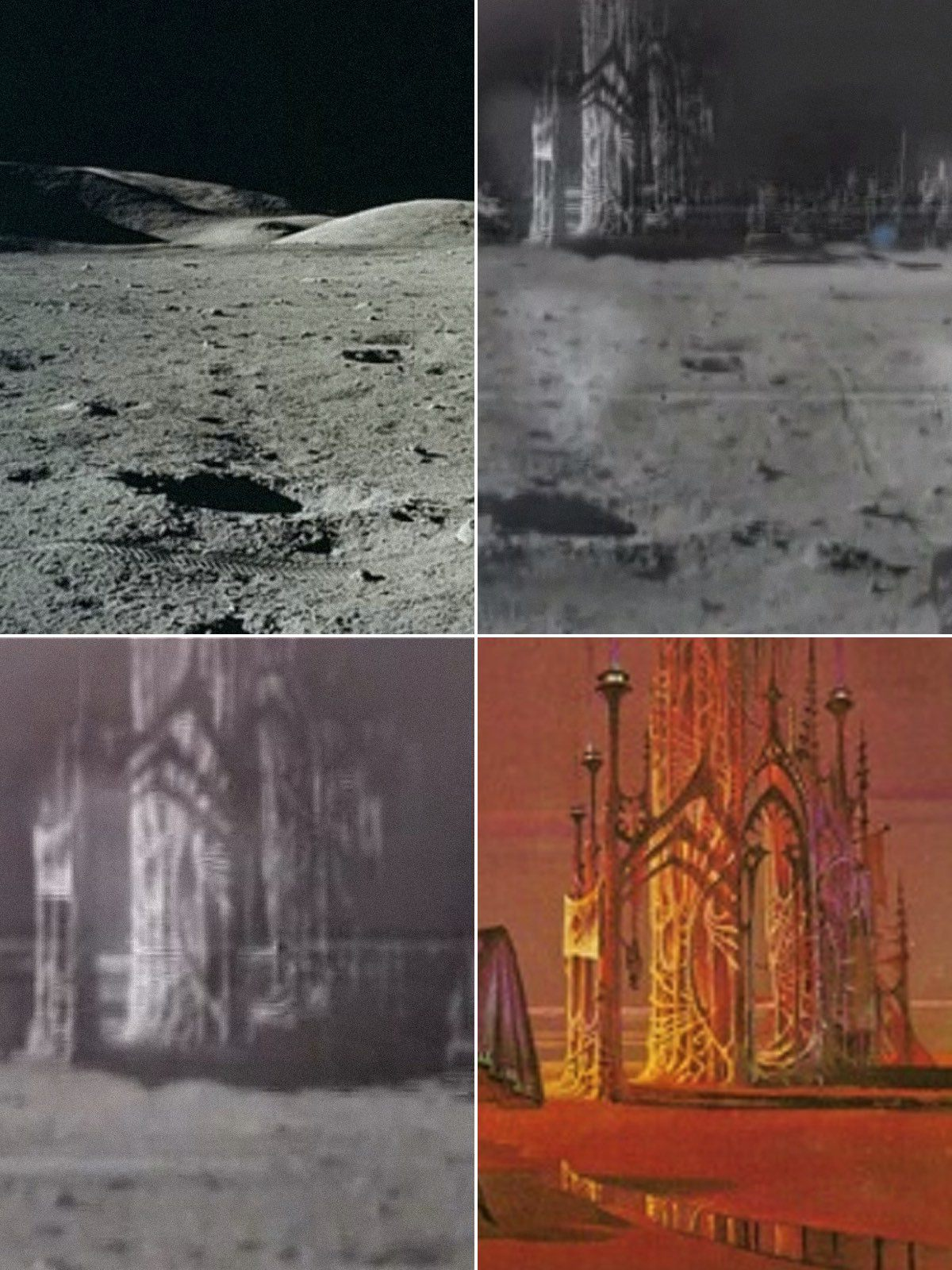 The moon city in the videos is a composite of NASA photos and the artwork of Bruce Pennington