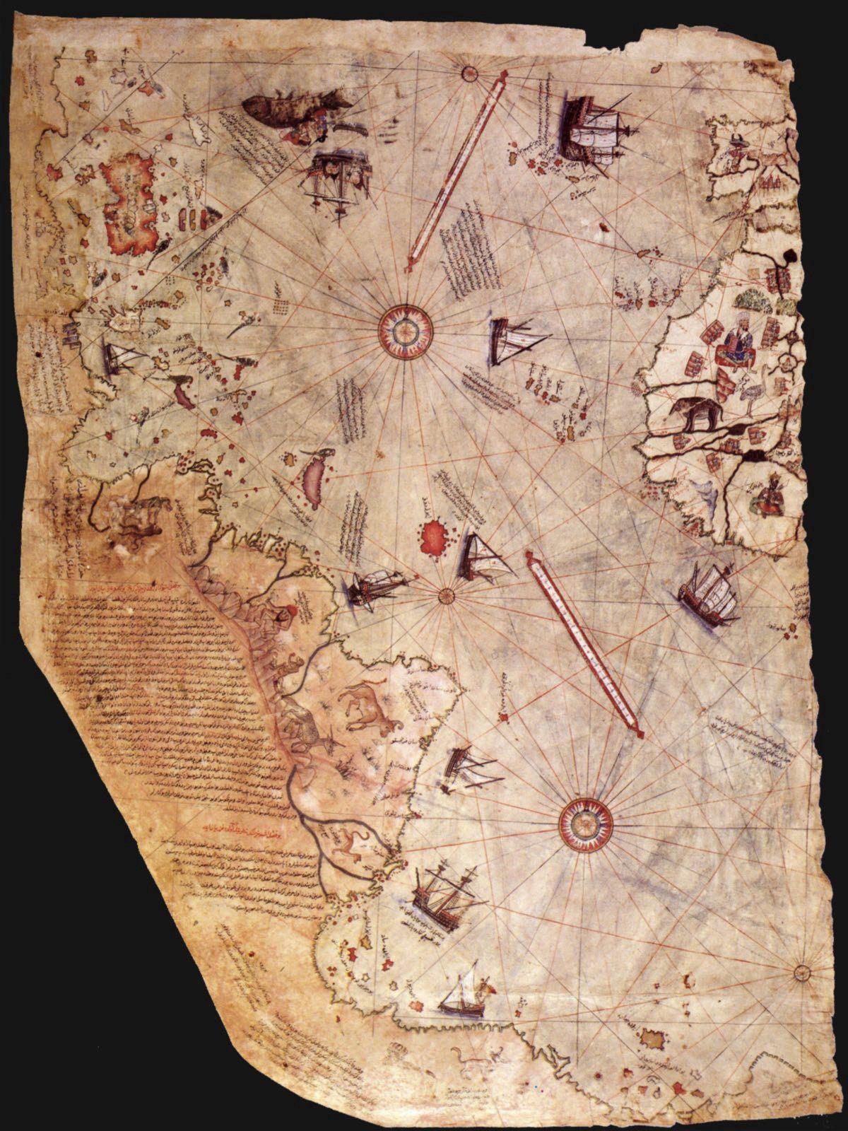 Does the Piri Reis map show the coast of Antarctica?