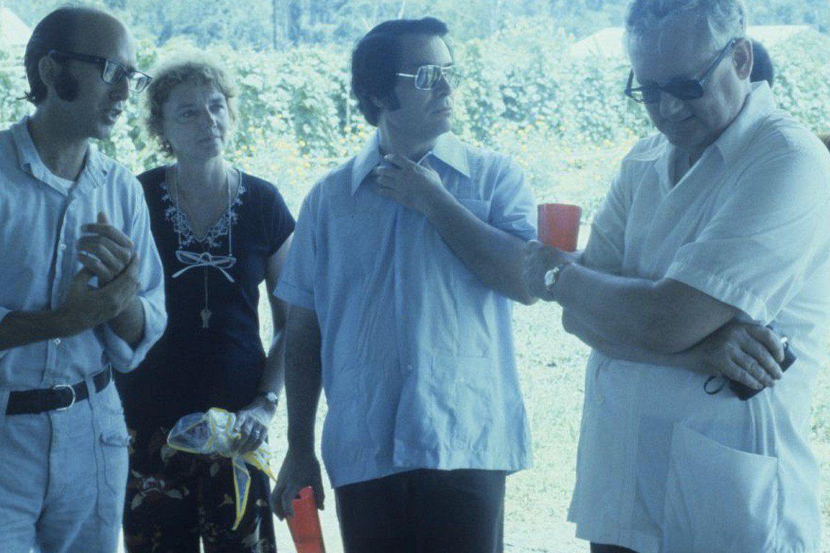 Jim Jones, center, with Richard Dwyer, right.